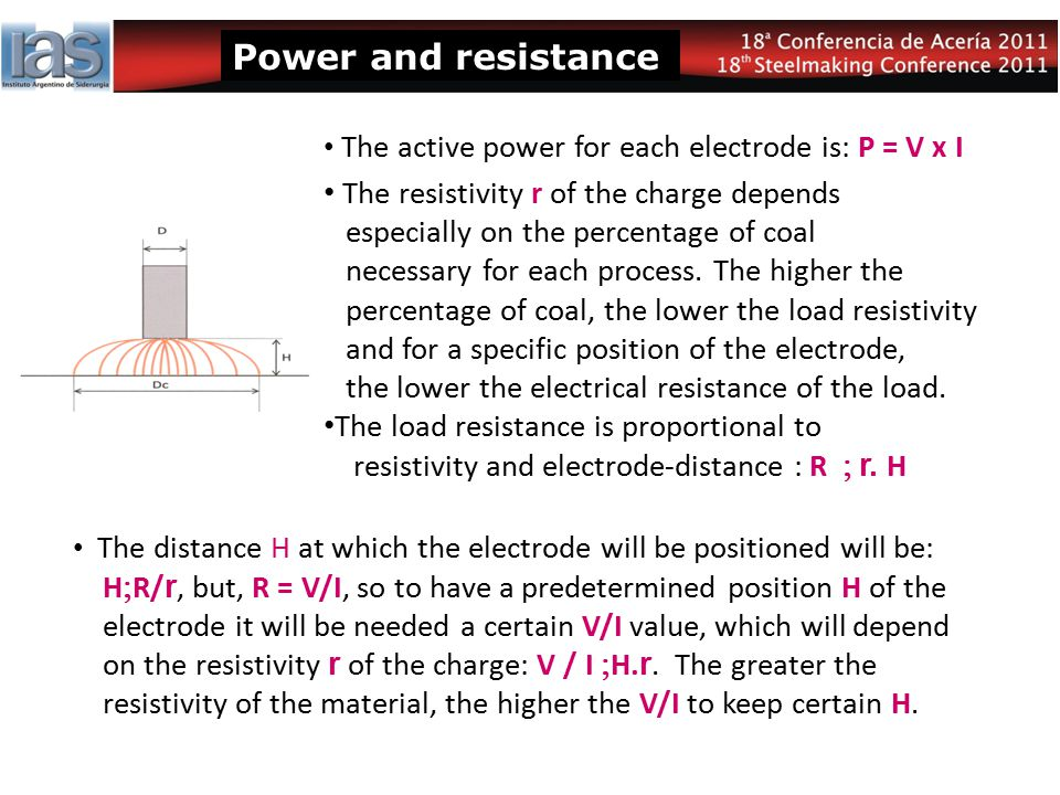 Power and resistance The active power for each electrode is: P = V x I.