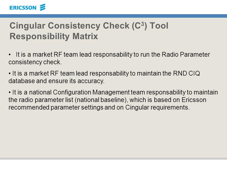 Cingular Consistency Check (C3) Tool Responsibility Matrix