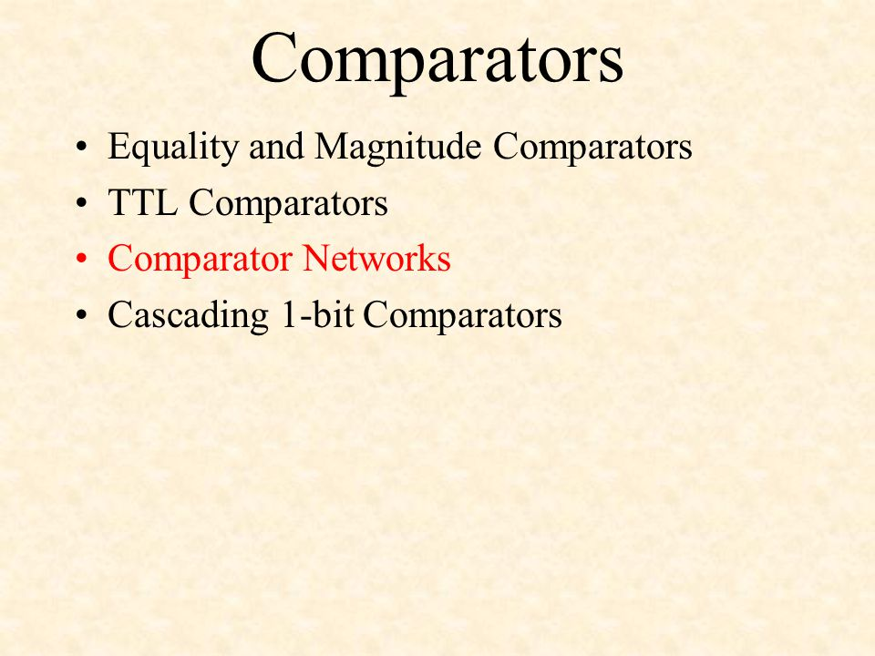 Comparators Equality and Magnitude Comparators TTL Comparators