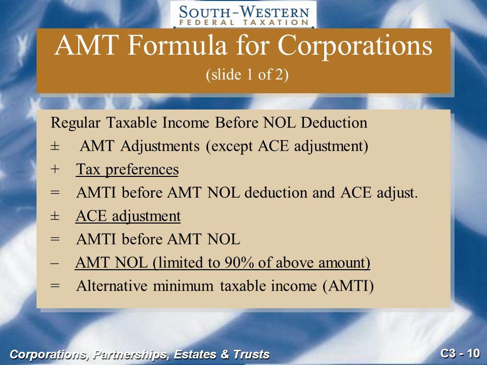 AMT Formula for Corporations (slide 1 of 2)