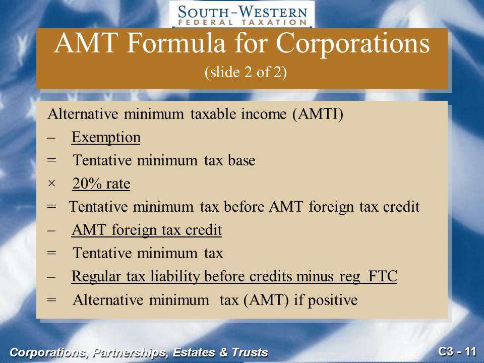 AMT Formula for Corporations (slide 2 of 2)