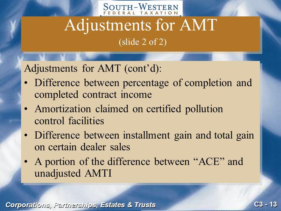 Adjustments for AMT (slide 2 of 2)