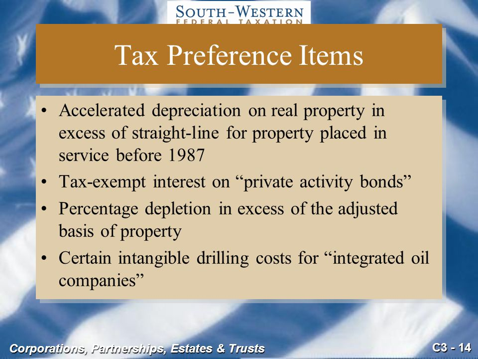 Tax Preference Items Accelerated depreciation on real property in excess of straight-line for property placed in service before 1987.
