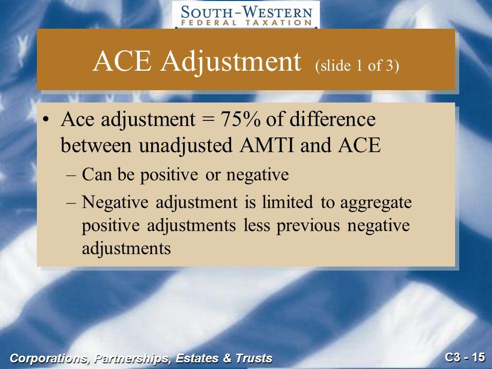 ACE Adjustment (slide 1 of 3)