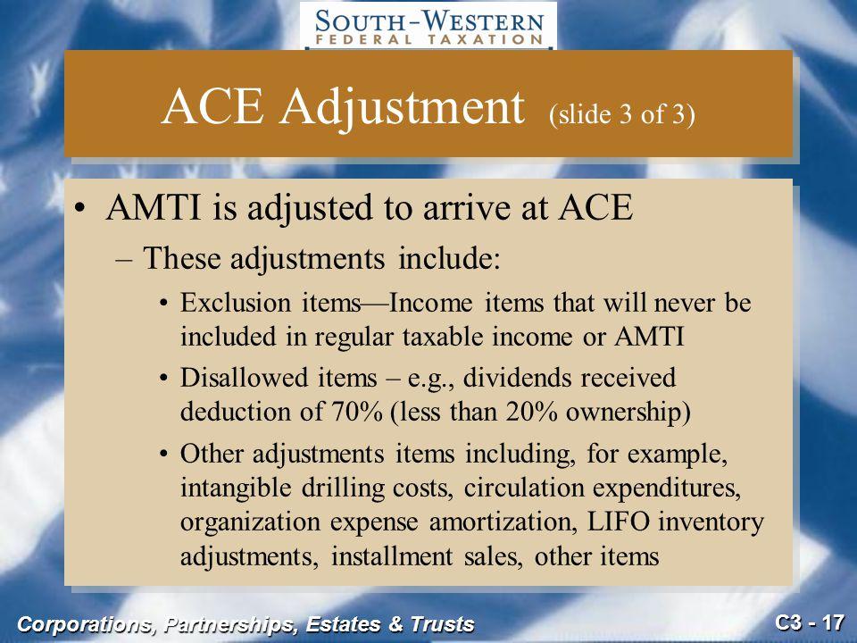 ACE Adjustment (slide 3 of 3)