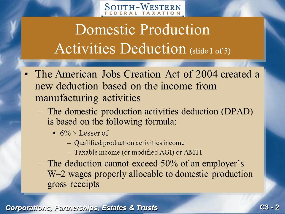 Domestic Production Activities Deduction (slide 1 of 5)