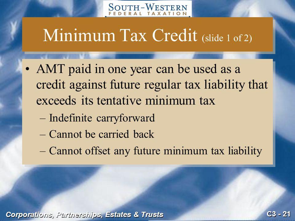 Minimum Tax Credit (slide 1 of 2)