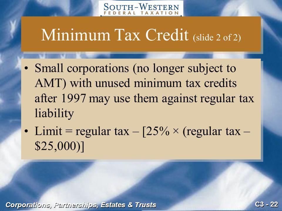 Minimum Tax Credit (slide 2 of 2)