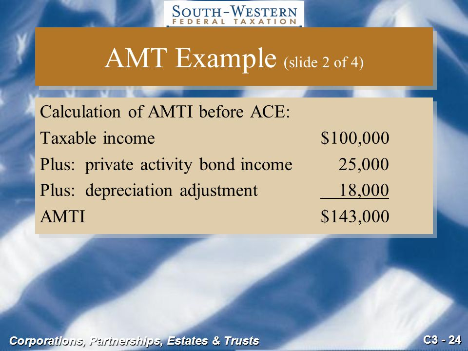 AMT Example (slide 2 of 4) Calculation of AMTI before ACE: