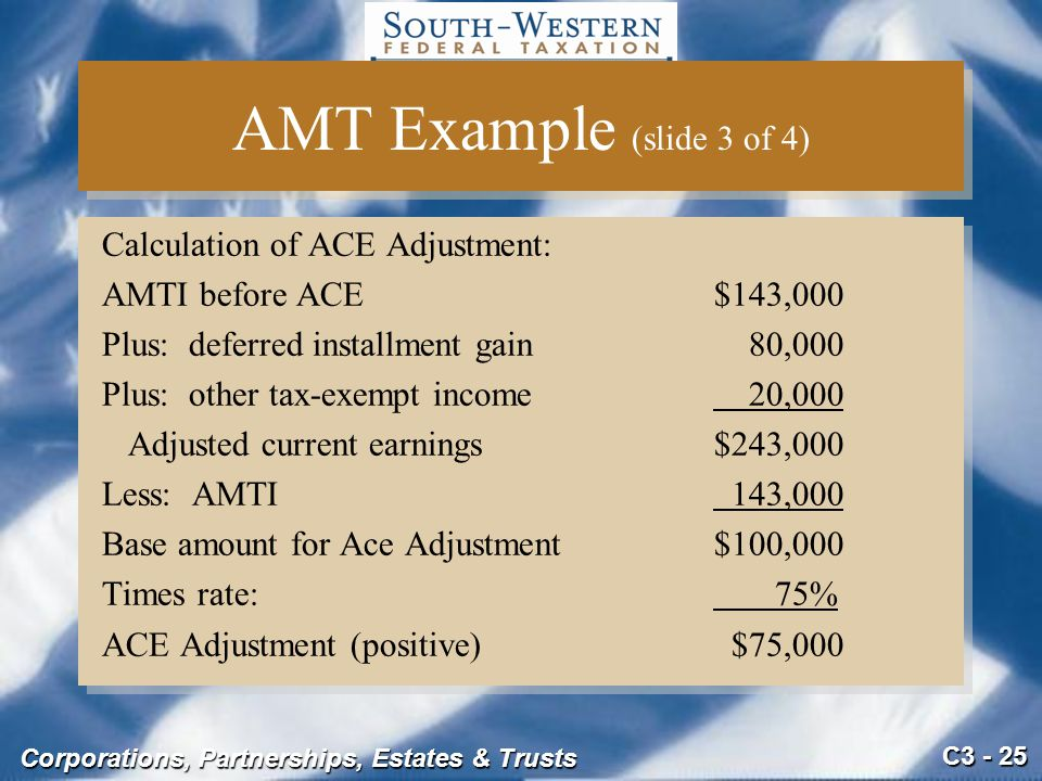 AMT Example (slide 3 of 4) Calculation of ACE Adjustment:
