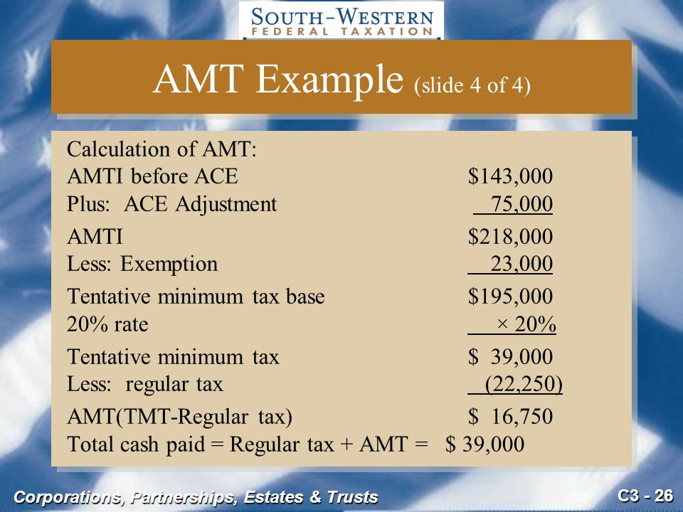 AMT Example (slide 4 of 4) Calculation of AMT: