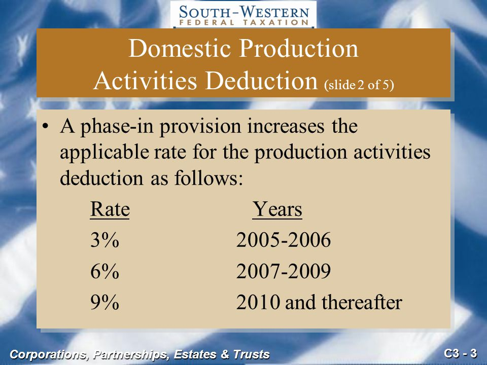 Domestic Production Activities Deduction (slide 2 of 5)