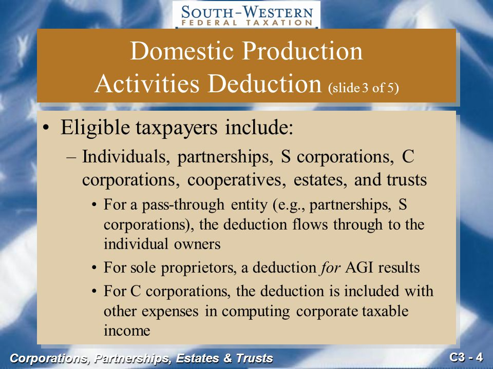 Domestic Production Activities Deduction (slide 3 of 5)