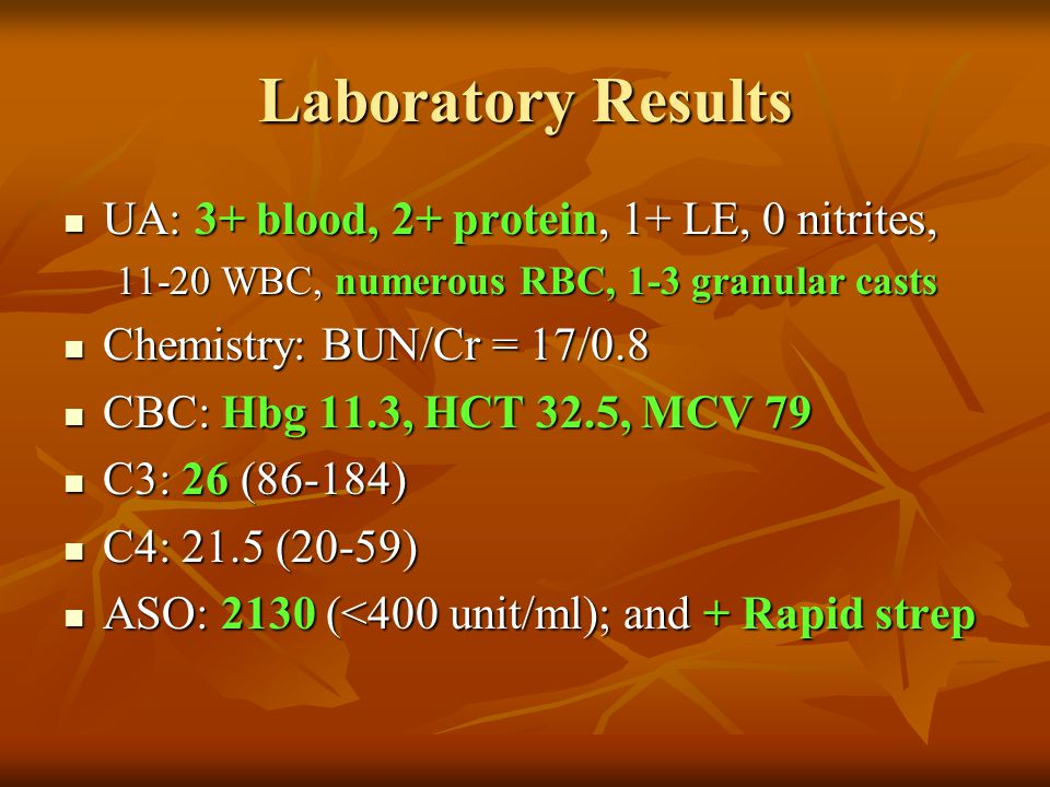 Laboratory Results UA: 3+ blood, 2+ protein, 1+ LE, 0 nitrites,