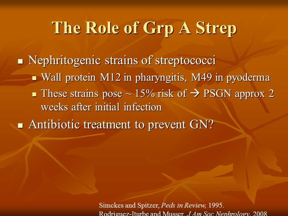 The Role of Grp A Strep Nephritogenic strains of streptococci