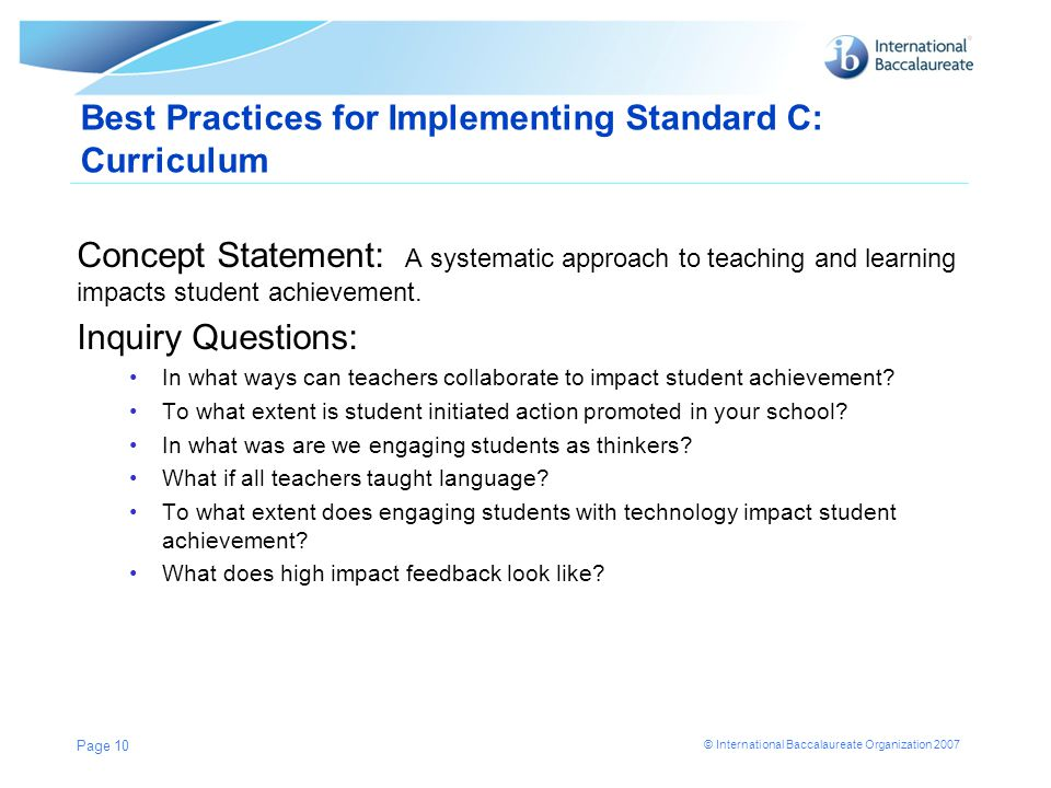 Best Practices for Implementing Standard C: Curriculum