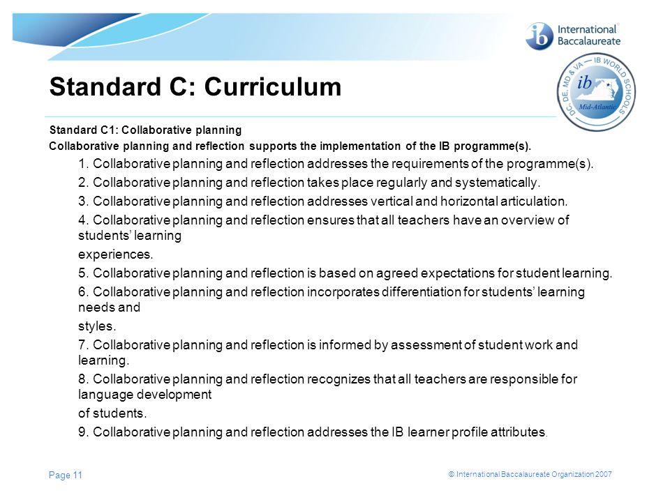Standard C: Curriculum