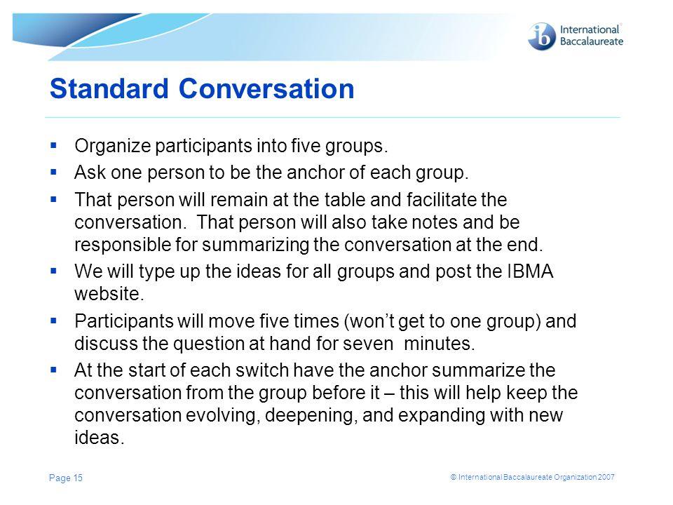 Standard Conversation