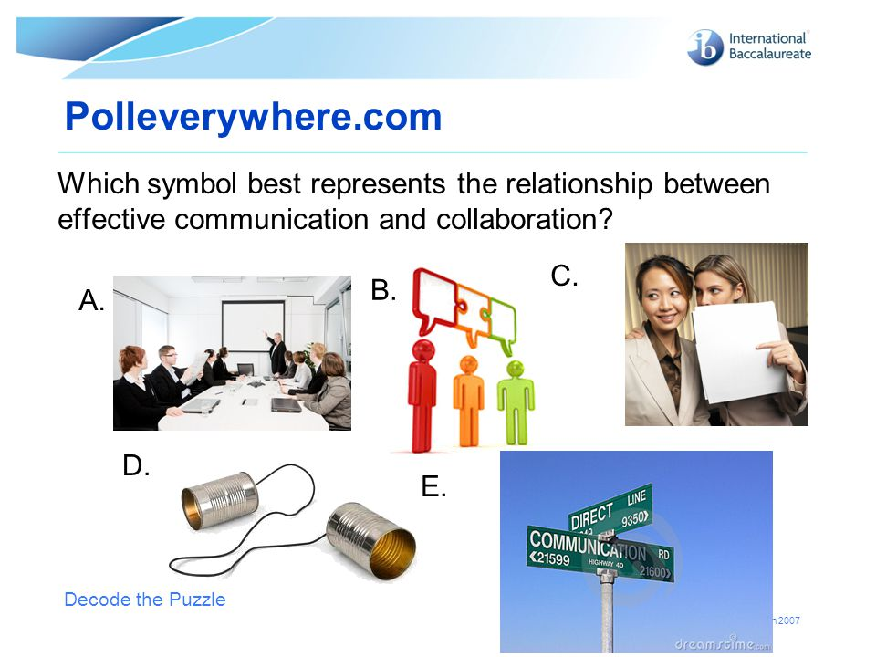 Polleverywhere.com Which symbol best represents the relationship between effective communication and collaboration