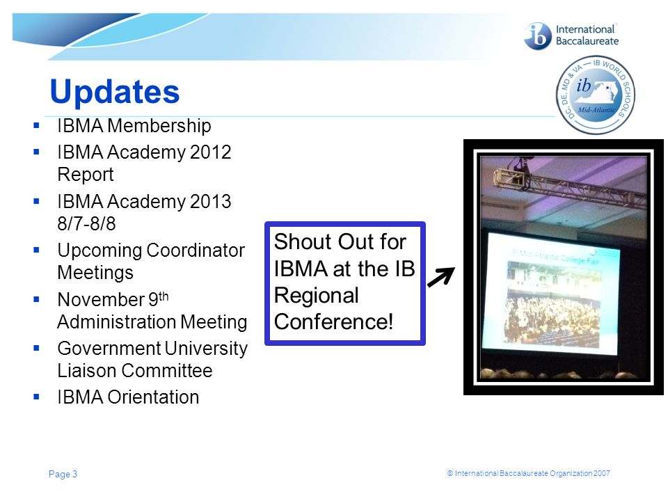 Updates Shout Out for IBMA at the IB Regional Conference!