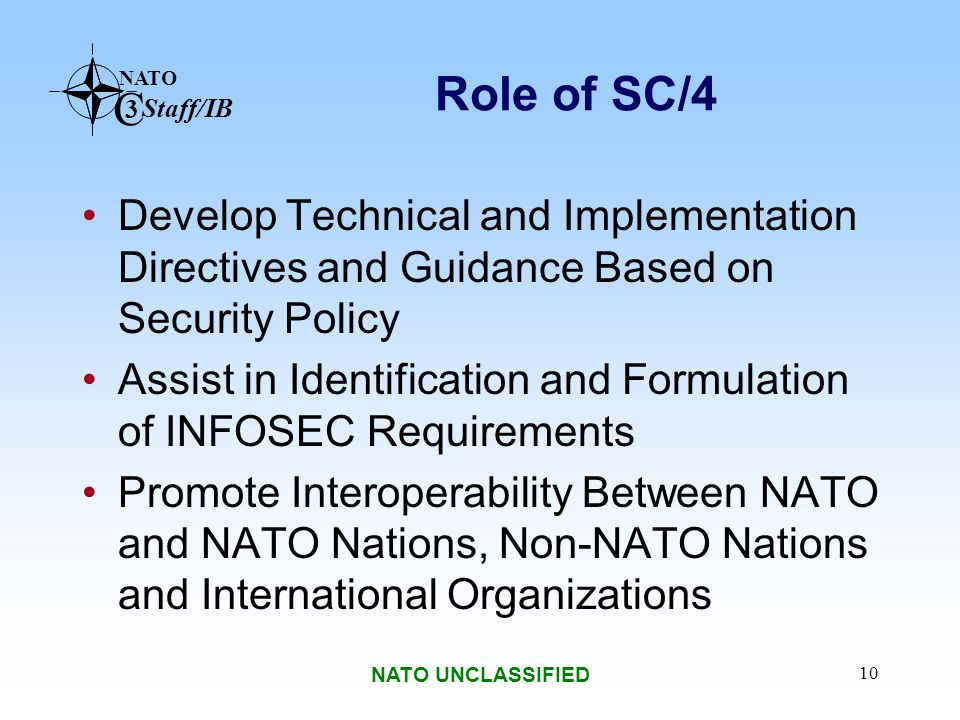 Role of SC/4 Develop Technical and Implementation Directives and Guidance Based on Security Policy.