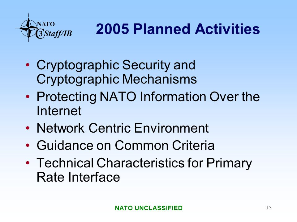 2005 Planned Activities Cryptographic Security and Cryptographic Mechanisms. Protecting NATO Information Over the Internet.