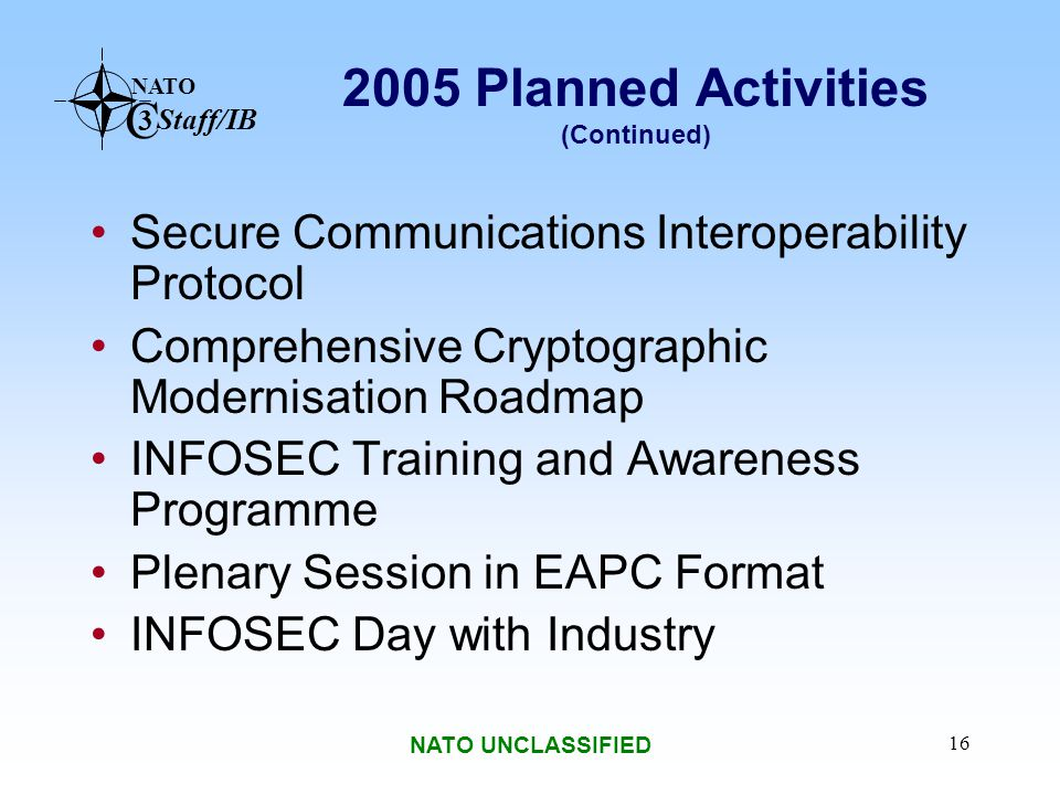 2005 Planned Activities (Continued)