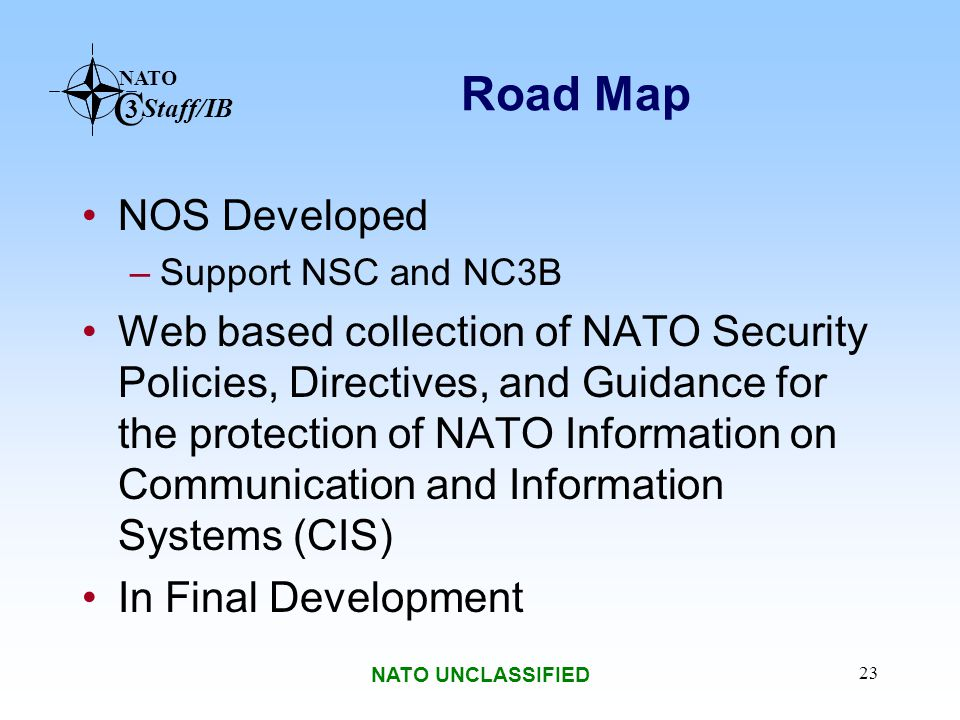 Road Map NOS Developed. Support NSC and NC3B.