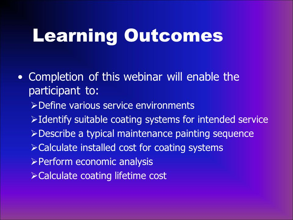 Learning Outcomes Completion of this webinar will enable the participant to: Define various service environments.