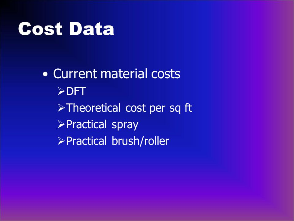 Cost Data Current material costs DFT Theoretical cost per sq ft