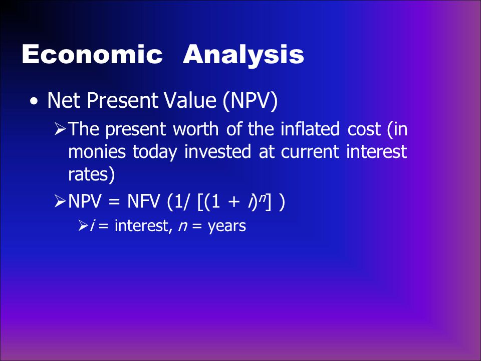 Economic Analysis Net Present Value (NPV)