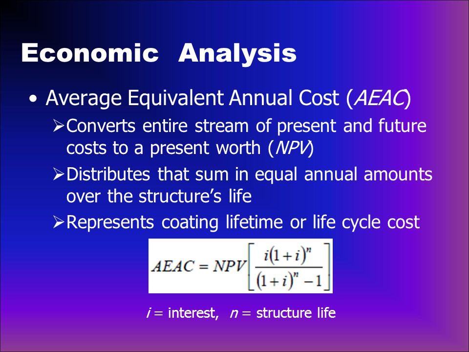 Economic Analysis Average Equivalent Annual Cost (AEAC)