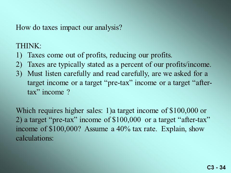 How do taxes impact our analysis