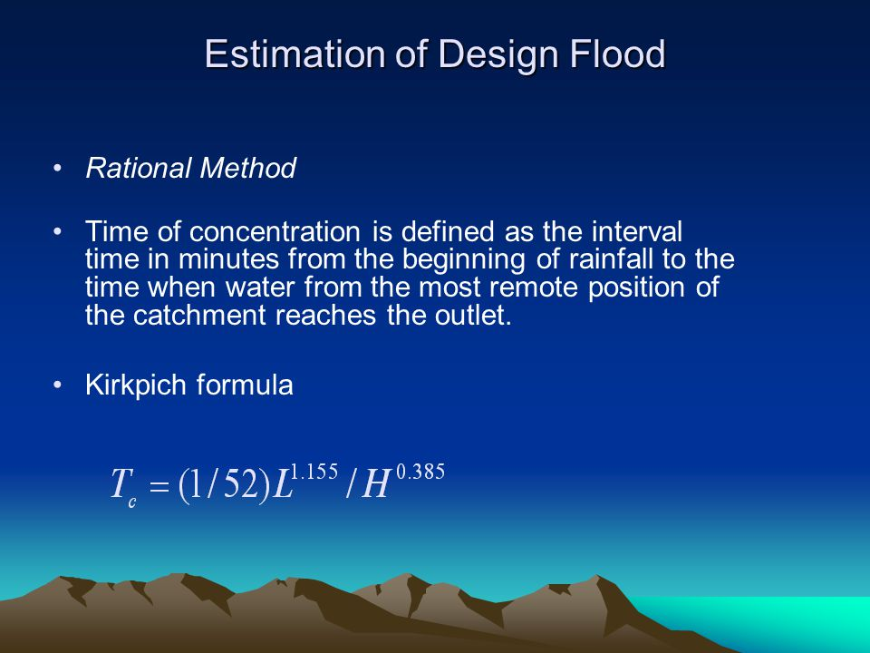methods of estimation of flood discharg Read genetic programming approach for flood routing in natural channels, hydrological processes on deepdyve, the largest online rental service for scholarly research with thousands of academic publications available at your fingertips.