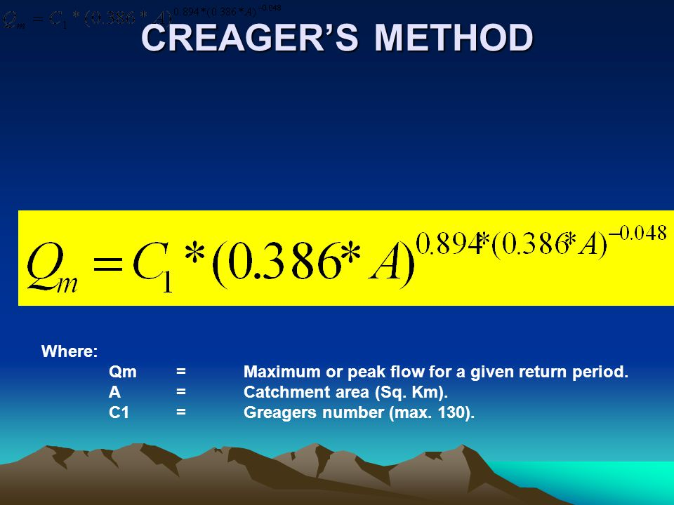 CREAGER'S METHOD Where: