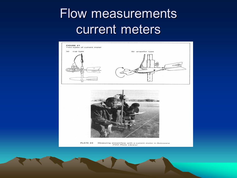 Flow measurements current meters