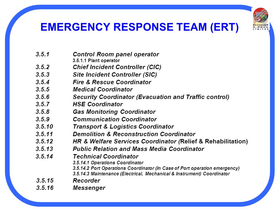 team communication emergency response team The emergency response team (ert) (french: groupe tactique d'intervention) is the paramilitary arm of the royal canadian mounted police according to the rcmp, the ert is a group of highly-trained rcmp members capable of employing specialized weapons, equipment, and tactics to resolve extremely high-risk situations.
