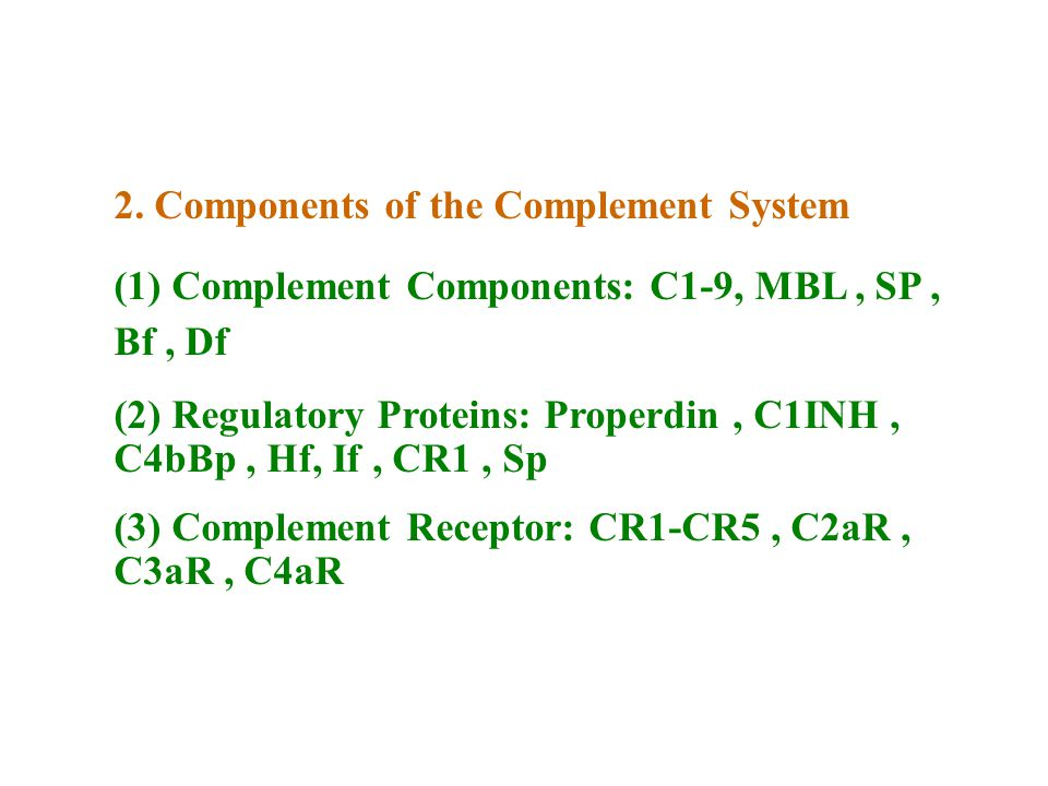 2. Components of the Complement System
