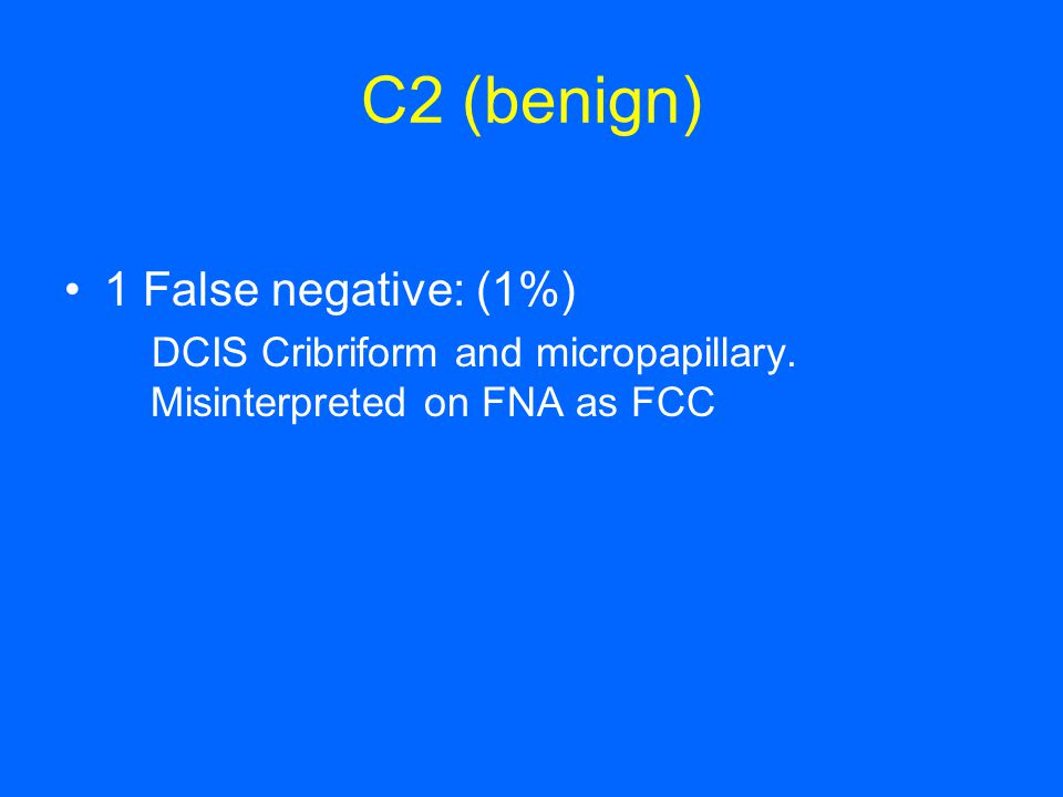 C2 (benign) 1 False negative: (1%)