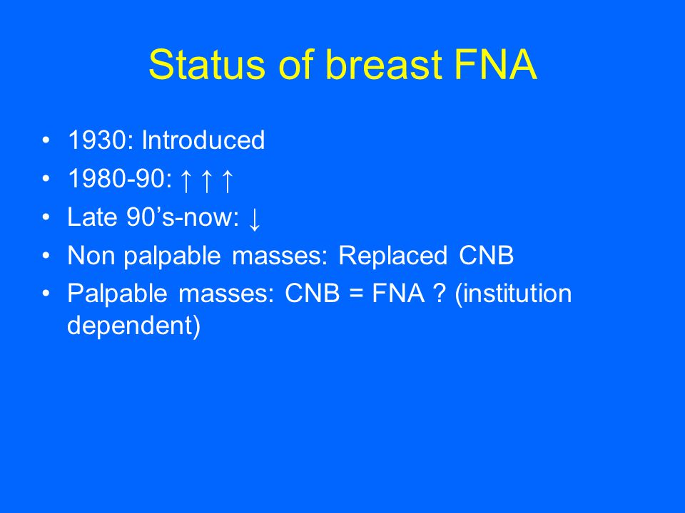 Status of breast FNA 1930: Introduced 1980-90: ↑ ↑ ↑ Late 90's-now: ↓