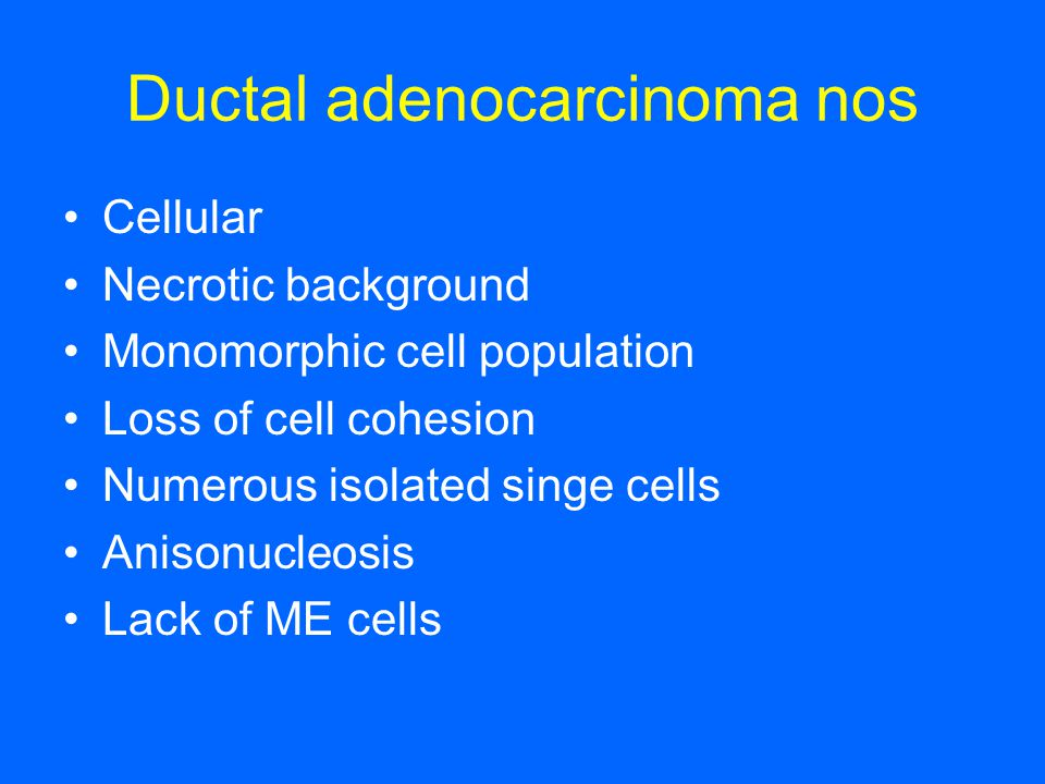 Ductal adenocarcinoma nos