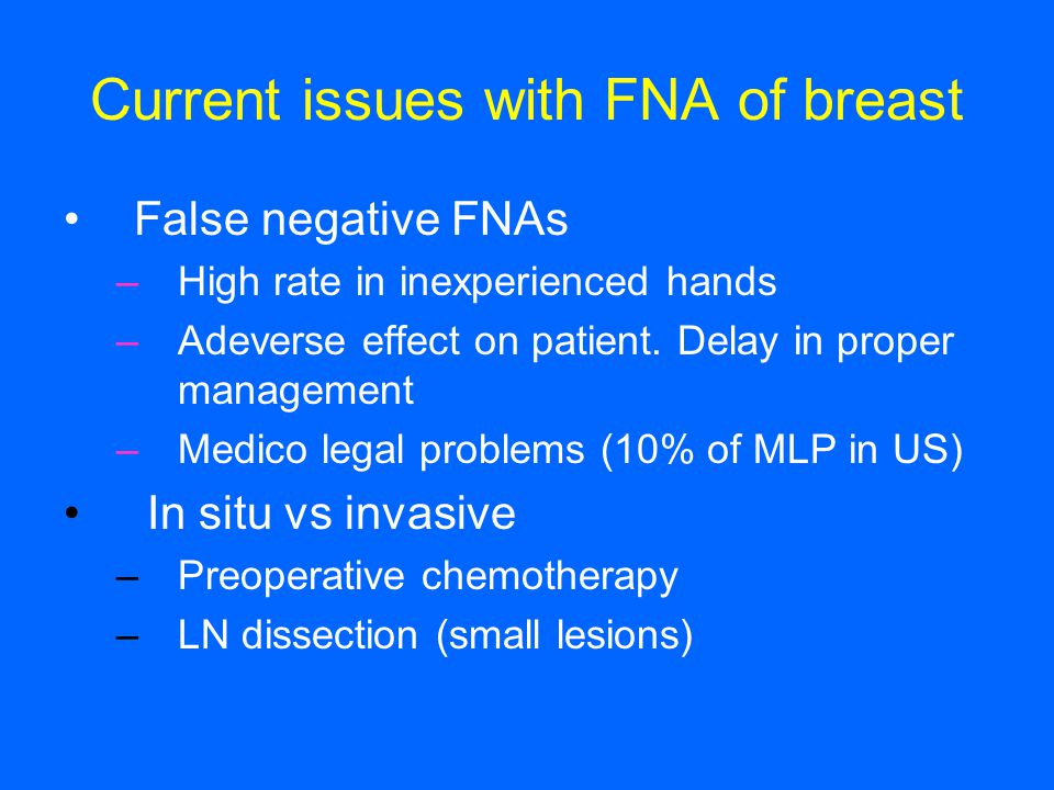 Current issues with FNA of breast