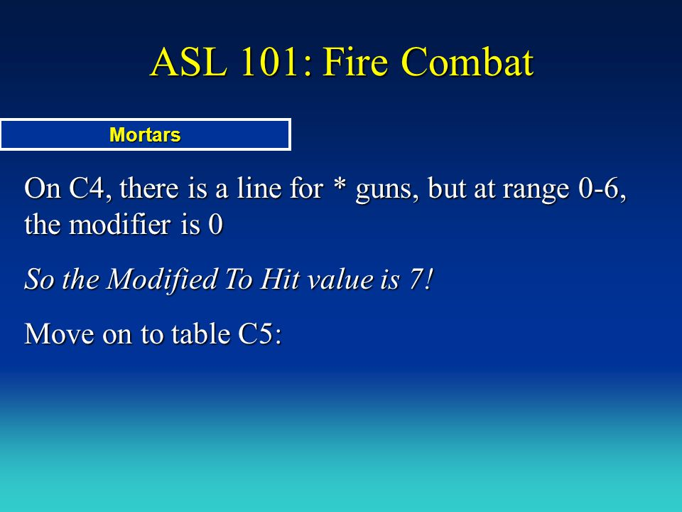 ASL 101: Fire Combat Mortars. On C4, there is a line for * guns, but at range 0-6, the modifier is 0.