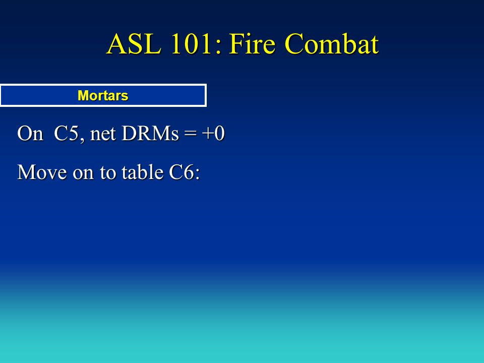 ASL 101: Fire Combat Mortars On C5, net DRMs = +0 Move on to table C6: