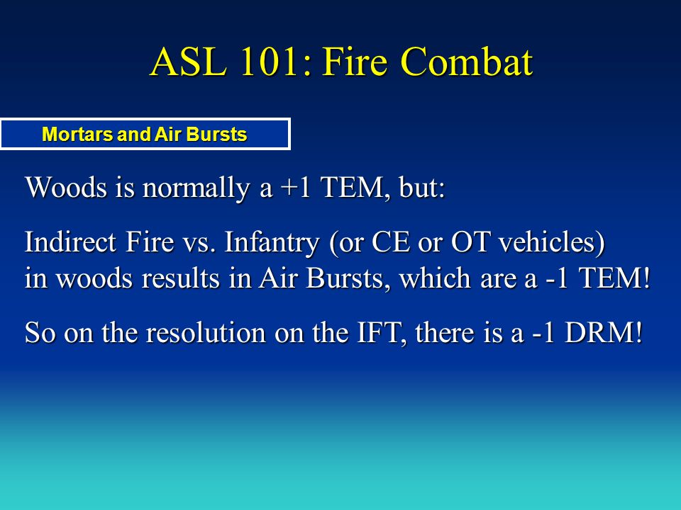 ASL 101: Fire Combat Woods is normally a +1 TEM, but: