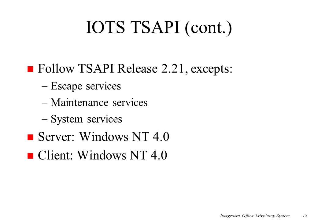 IOTS TSAPI (cont.) Follow TSAPI Release 2.21, excepts: