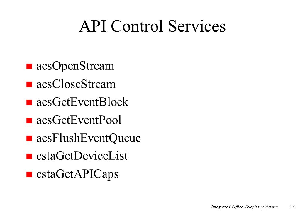 API Control Services acsOpenStream acsCloseStream acsGetEventBlock