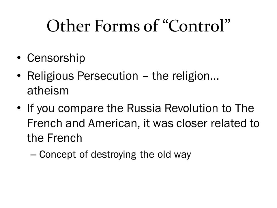 Other Forms of Control