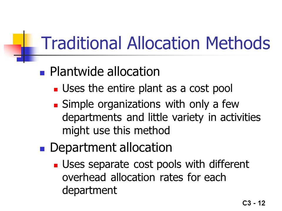 overhead allocation of cost This lesson focuses on the three main purposes for allocating costs these are to: 1) make decisions, 2) reduce waste, and 3) determine pricing at the.