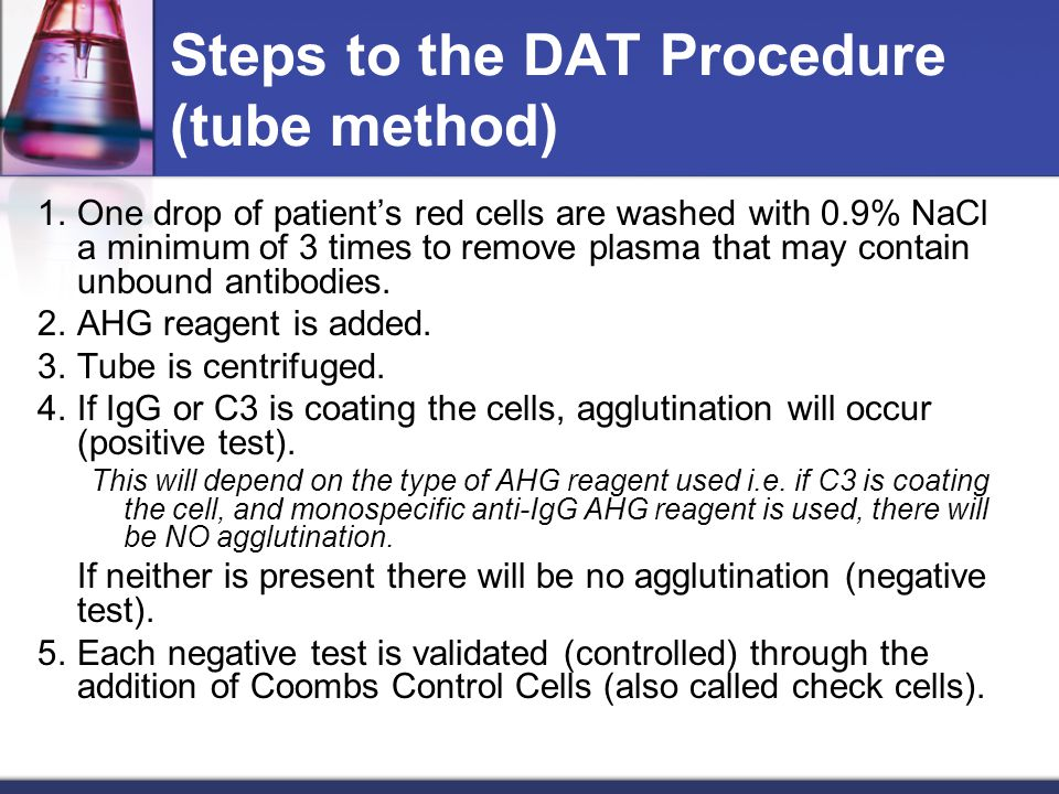 Steps to the DAT Procedure (tube method)